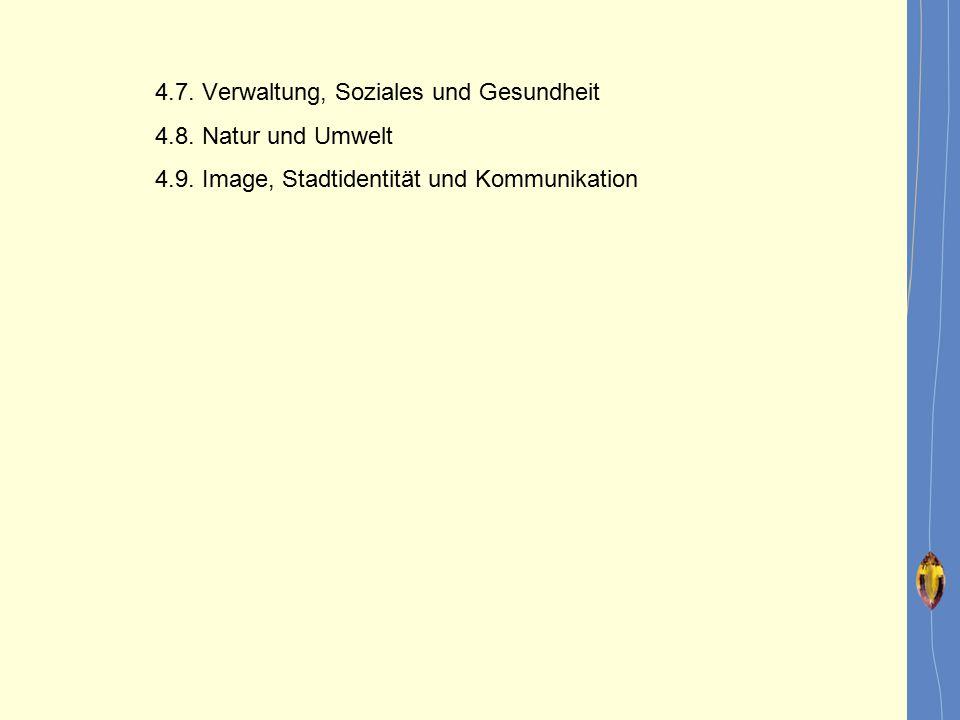 4.7. Verwaltung, Soziales und Gesundheit 4.8. Natur und Umwelt 4.9. Image, Stadtidentität und Kommunikation