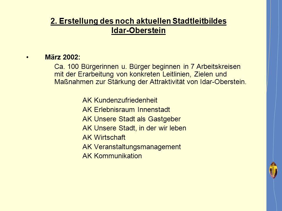 März 2002: Ca. 100 Bürgerinnen u. Bürger beginnen in 7 Arbeitskreisen mit der Erarbeitung von konkreten Leitlinien, Zielen und Maßnahmen zur Stärkung