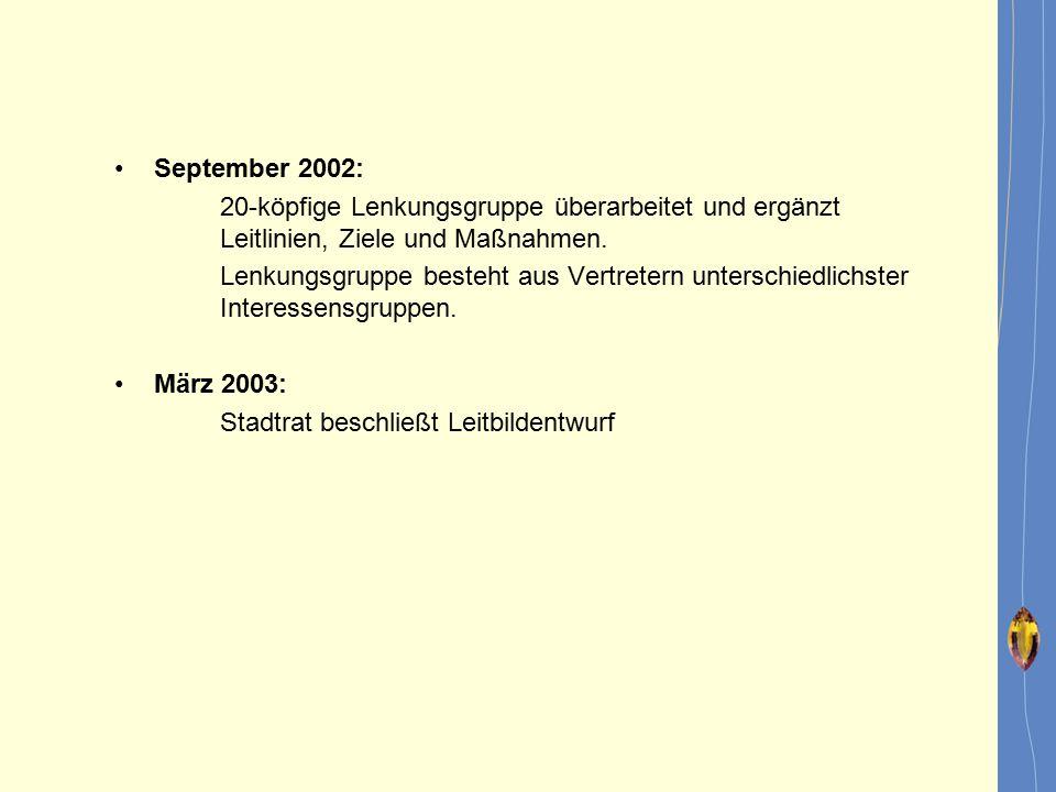 September 2002: 20-köpfige Lenkungsgruppe überarbeitet und ergänzt Leitlinien, Ziele und Maßnahmen. Lenkungsgruppe besteht aus Vertretern unterschiedl