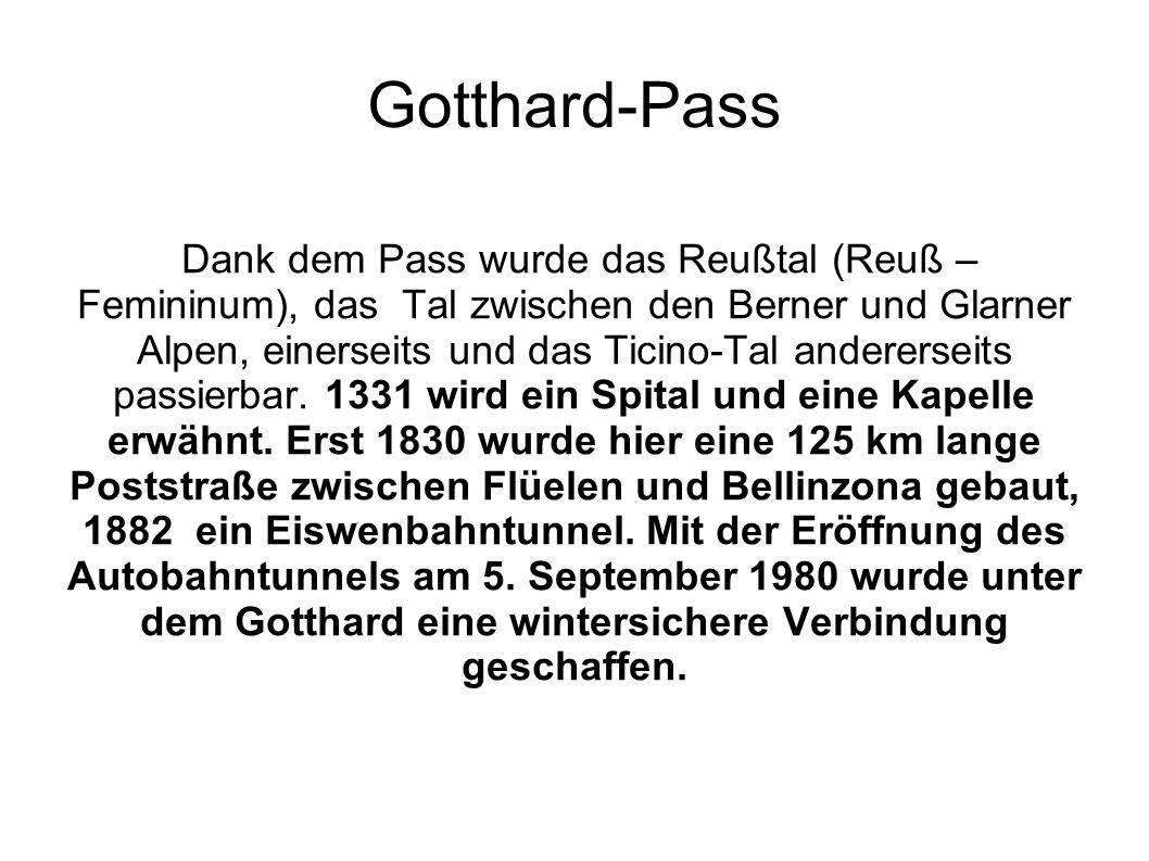 Gotthard-Pass Dank dem Pass wurde das Reußtal (Reuß – Femininum), das Tal zwischen den Berner und Glarner Alpen, einerseits und das Ticino-Tal anderer