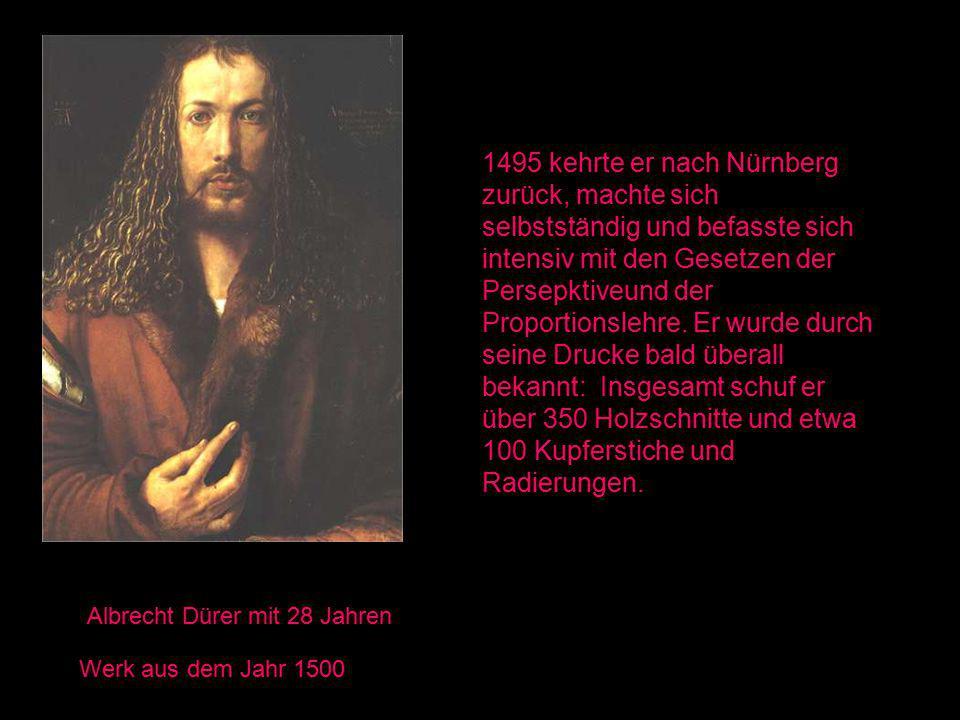 Albrecht Dürer mit 28 Jahren Werk aus dem Jahr 1500 1495 kehrte er nach Nürnberg zurück, machte sich selbstständig und befasste sich intensiv mit den Gesetzen der Persepktiveund der Proportionslehre.