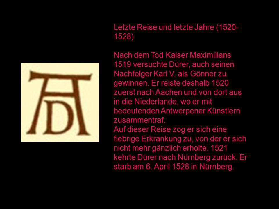 Letzte Reise und letzte Jahre (1520- 1528) Nach dem Tod Kaiser Maximilians 1519 versuchte Dürer, auch seinen Nachfolger Karl V. als Gönner zu gewinnen