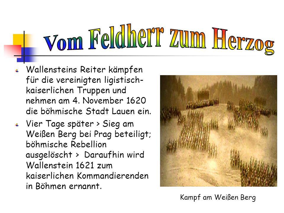 Wallensteins Reiter kämpfen für die vereinigten ligistisch- kaiserlichen Truppen und nehmen am 4. November 1620 die böhmische Stadt Lauen ein. Vier Ta
