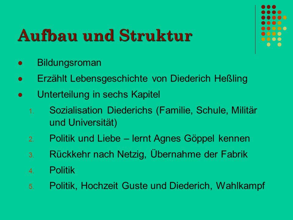 Aufbau und Struktur Bildungsroman Erzählt Lebensgeschichte von Diederich Heßling Unterteilung in sechs Kapitel 1. Sozialisation Diederichs (Familie, S
