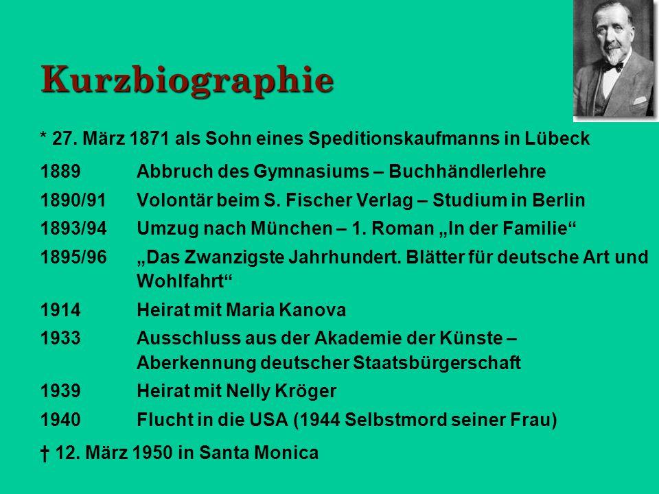 Kurzbiographie * 27. März 1871 als Sohn eines Speditionskaufmanns in Lübeck 1889Abbruch des Gymnasiums – Buchhändlerlehre 1890/91Volontär beim S. Fisc