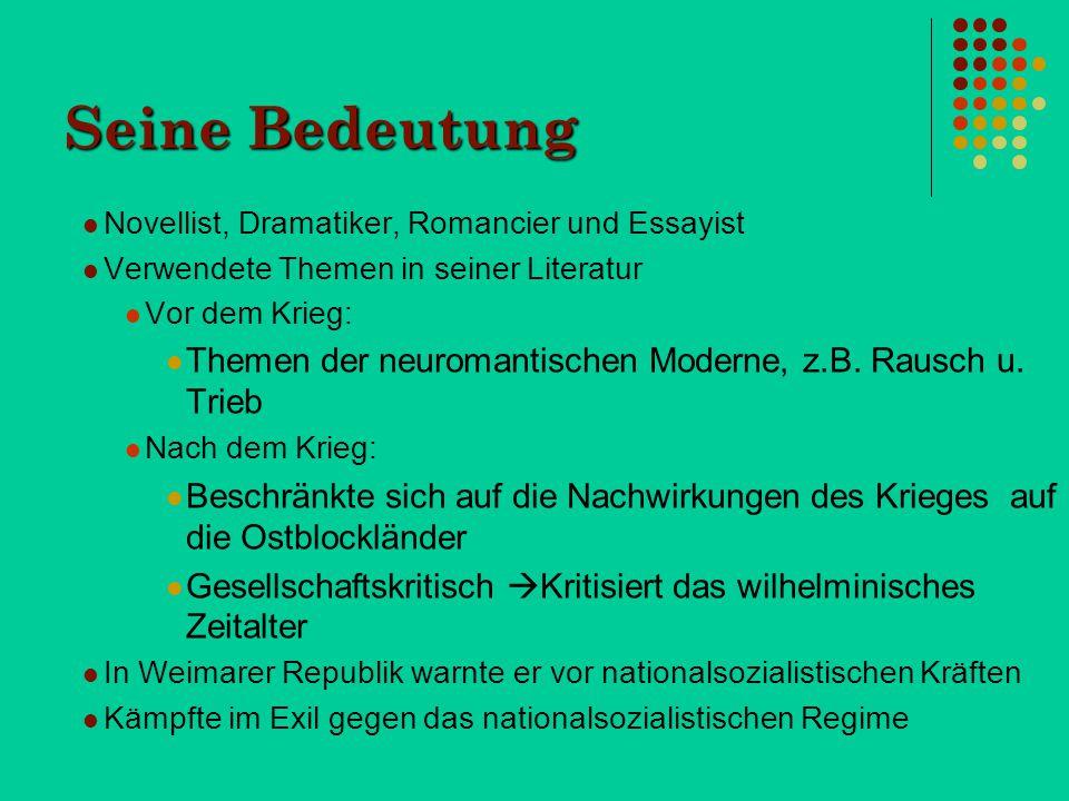 Entstehung und Rezeption Heinrich Mann begann 1906 den Roman zu schreiben, wurde jedoch erst 1914 veröffentlicht.