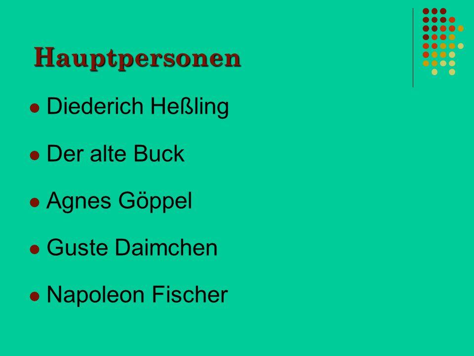Hauptpersonen Diederich Heßling Der alte Buck Agnes Göppel Guste Daimchen Napoleon Fischer
