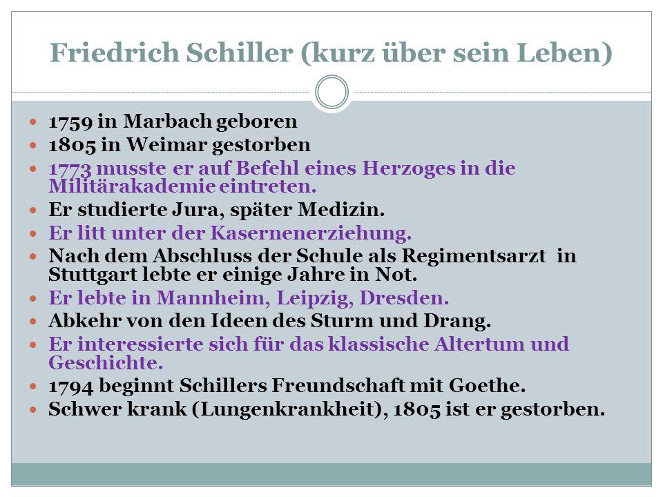 Friedrich Schiller (kurz über sein Leben) 1759 in Marbach geboren 1805 in Weimar gestorben 1773 musste er auf Befehl eines Herzoges in die Militärakad