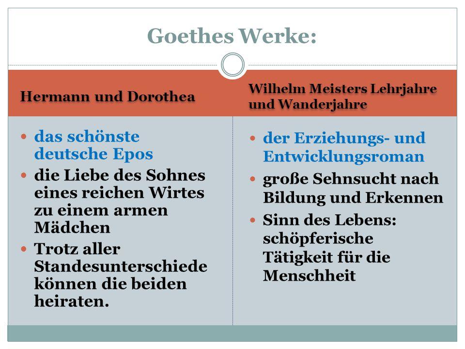 Hermann und Dorothea Wilhelm Meisters Lehrjahre und Wanderjahre das schönste deutsche Epos die Liebe des Sohnes eines reichen Wirtes zu einem armen Mä