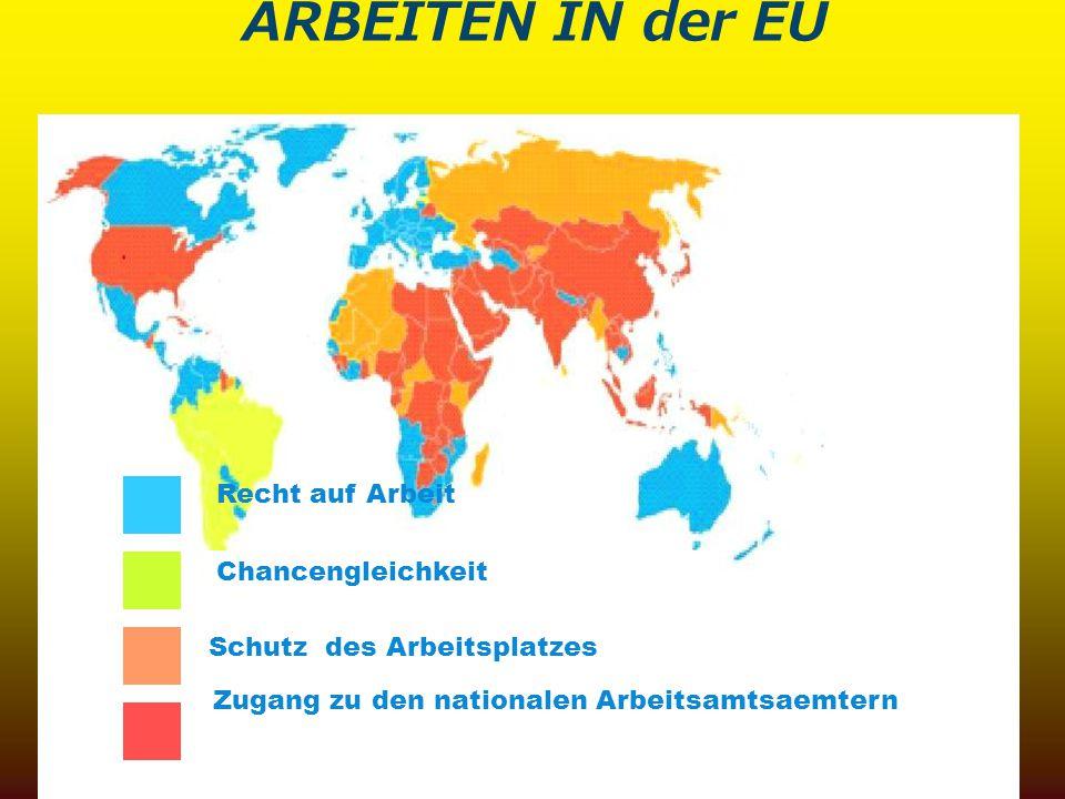ARBEITEN IN der EU Schutz des Arbeitsplatzes Chancengleichkeit Zugang zu den nationalen Arbeitsamtsaemtern Recht auf Arbeit