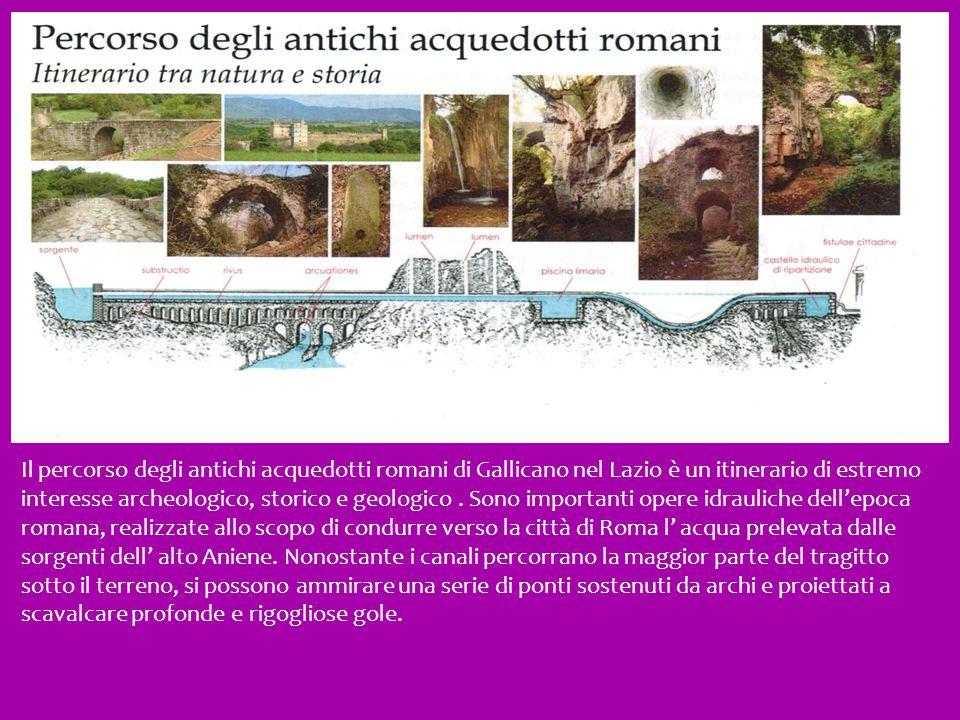 Il percorso degli antichi acquedotti romani di Gallicano nel Lazio è un itinerario di estremo interesse archeologico, storico e geologico. Sono import