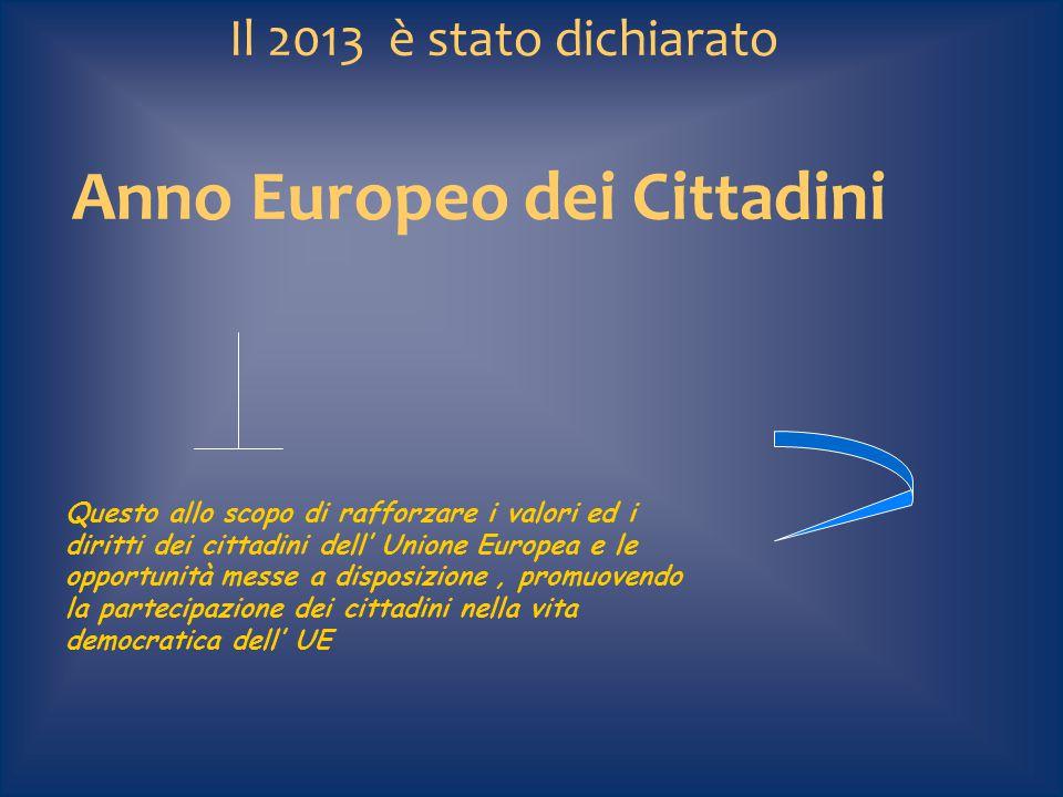 Il 2013 è stato dichiarato Anno Europeo dei Cittadini Questo allo scopo di rafforzare i valori ed i diritti dei cittadini dell' Unione Europea e le op