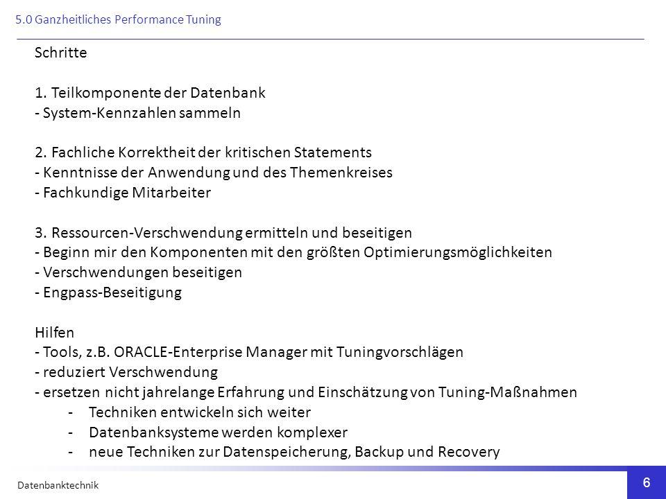 Datenbanktechnik 17 Kriterien zur Klassifikation von Metadatenbanken Passive Metadatenbank - nicht in das Datenbanksystem integriert - dient vorwiegend Dokumentationszwecken Aktive Metadatenbank - tauscht gezielt Informationen aus - z.B.