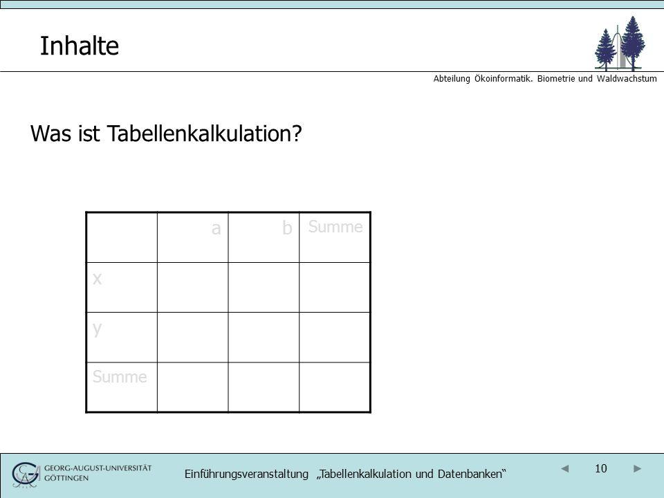 """10 Abteilung Ökoinformatik. Biometrie und Waldwachstum Inhalte Was ist Tabellenkalkulation? ab Summe x y Einführungsveranstaltung """"Tabellenkalkulation"""