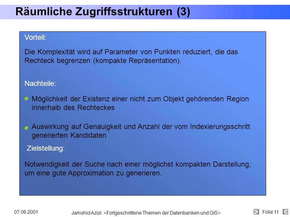 Jamshid Azizi: Folie 1007.06.2001 Räumliche Zugriffsstrukturen (2)... (MUR,,...) (MUR,;...)... (EB) Zugriffsstruktur Man bedient sich räumlicher Anfra