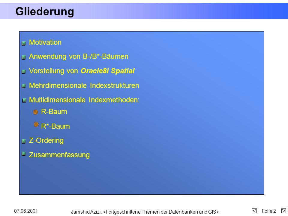 Unterstützung räumlicher Anfragen mit konventionellen Indexstrukturen Jamshid Azizi azizi@cs.uni-bonn.de 07.06.2001 Vortrag zum B-Seminar