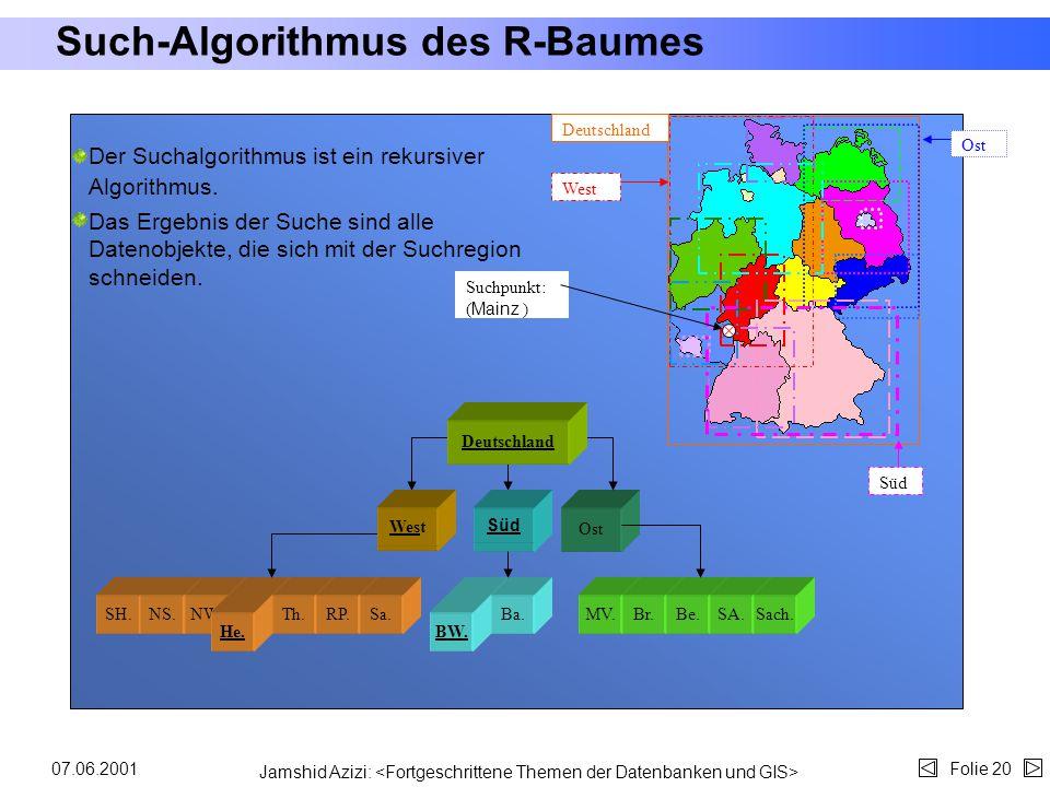 Jamshid Azizi: Folie 1907.06.2001 Struktur des R-Baumes (4) Resultierender R-Baum: Jedes Kästchen entspricht einem Eintrag eines Knotens. Jeder dieser