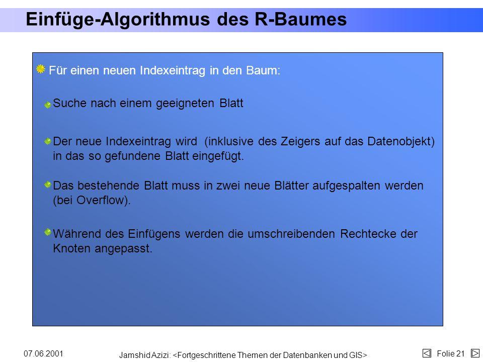 Jamshid Azizi: Folie 2007.06.2001 Such-Algorithmus des R-Baumes Deutschland WestOst Süd SH.NS.NW.He.BW.Ba.MV.Br.Be.SA.Sach.Th.RP.Sa. He. West Süd BW.