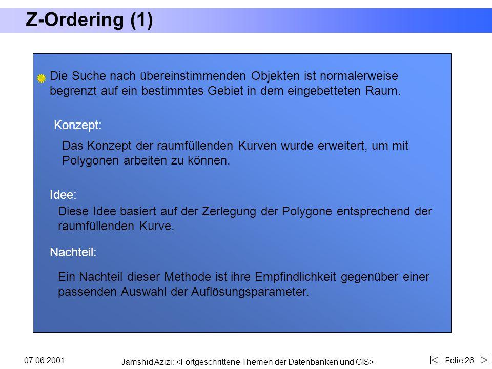 Jamshid Azizi: Folie 2507.06.2001 Z-Ordering (Motivation) Abstrakt Um räumliche Indexstrukturen in kommerzielle Datenbankmanagement- systeme (DBMS) zu