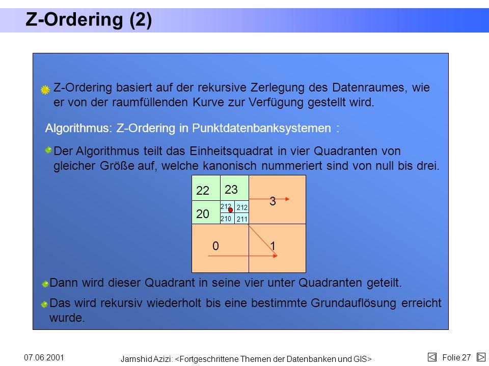 Jamshid Azizi: Folie 2607.06.2001 Z-Ordering (1) Das Konzept der raumfüllenden Kurven wurde erweitert, um mit Polygonen arbeiten zu können. Diese Idee