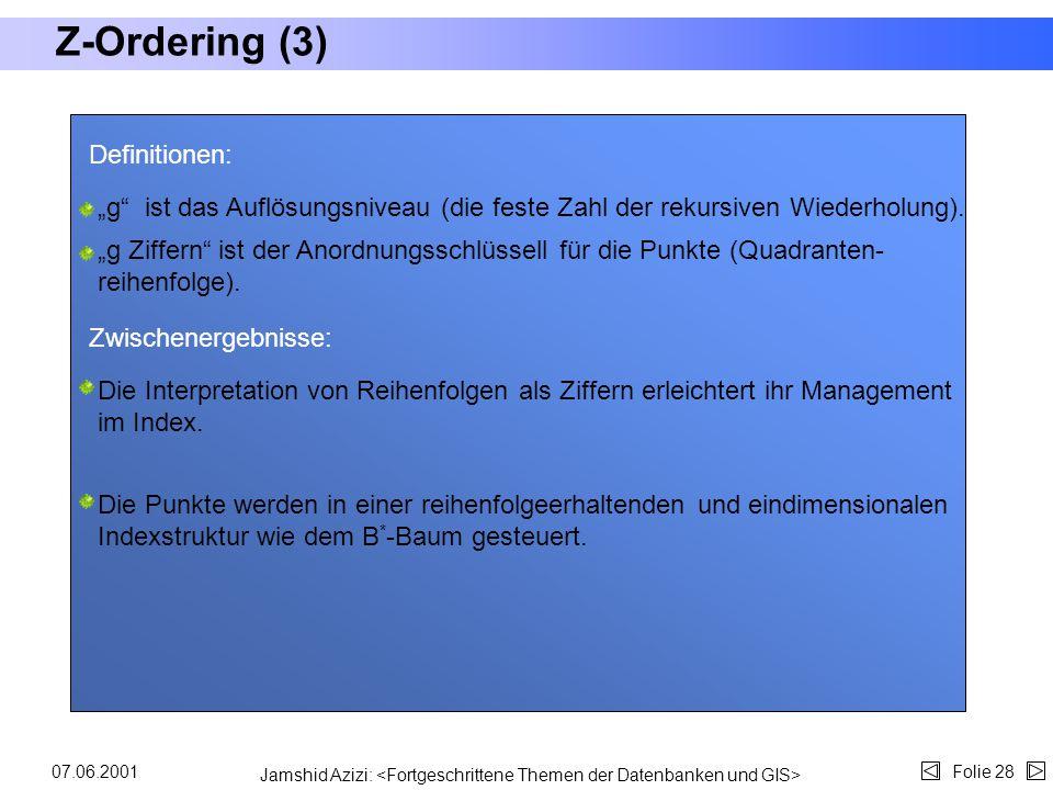 Jamshid Azizi: Folie 2707.06.2001 Z-Ordering (2) Algorithmus: Z-Ordering in Punktdatenbanksystemen : 01 32 Z-Ordering basiert auf der rekursive Zerleg