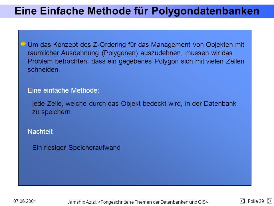 """Jamshid Azizi: Folie 2807.06.2001 Z-Ordering (3) Definitionen: Zwischenergebnisse: """"g"""" ist das Auflösungsniveau (die feste Zahl der rekursiven Wiederh"""