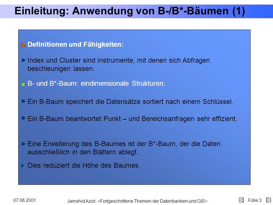 Jamshid Azizi: Folie 207.06.2001 Gliederung Motivation Anwendung von B-/B*-Bäumen Vorstellung von Oracle8i Spatial Mehrdimensionale Indexstrukturen Mu
