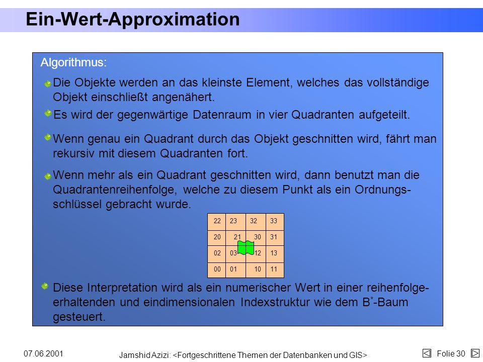 Jamshid Azizi: Folie 2907.06.2001 Eine Einfache Methode für Polygondatenbanken Eine einfache Methode: jede Zelle, welche durch das Objekt bedeckt wird