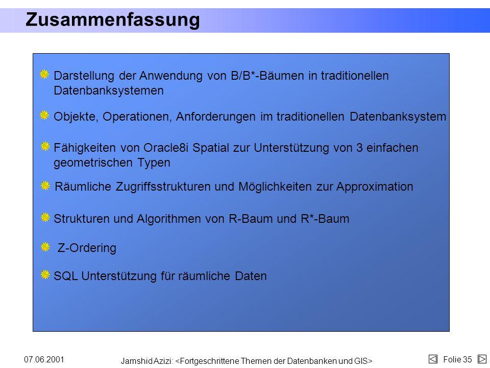 Jamshid Azizi: Folie 3407.06.2001 Beispiel Vor Oracle8i wird z.B. eine räumliche Anfrage wie folgt formuliert: SELECT DISTINCT r.gid, p.gid FROM roads