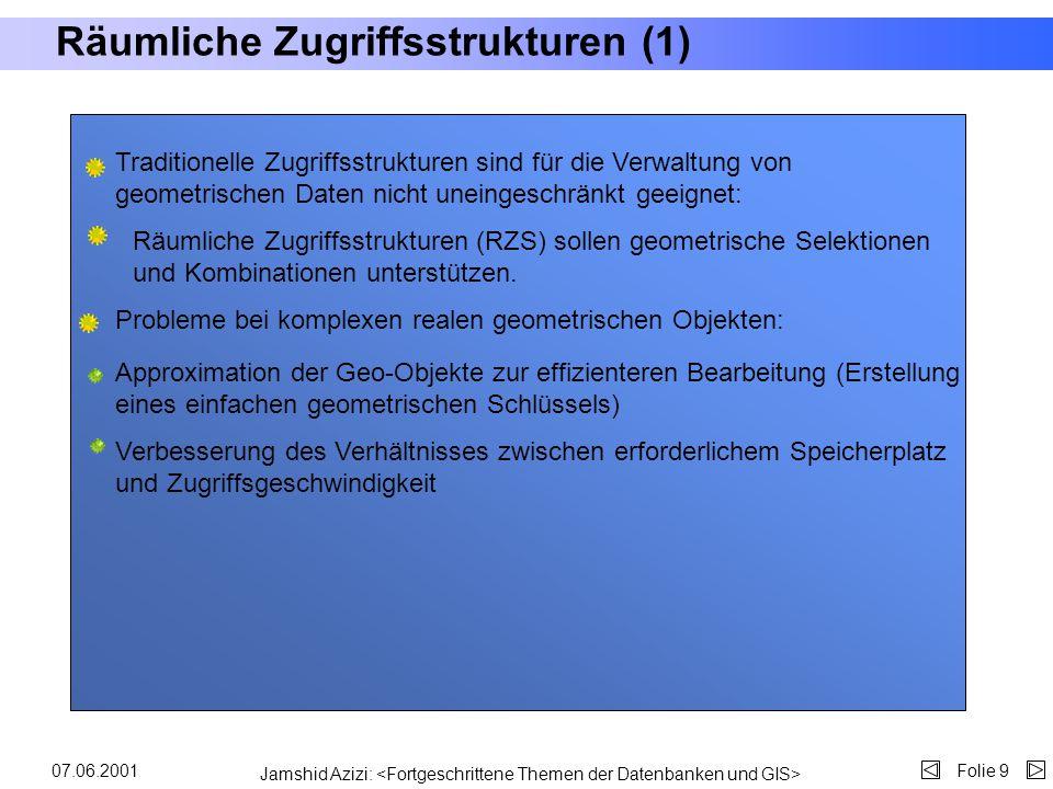 Jamshid Azizi: Folie 807.06.2001 Oracle8i Spatial Oracle 8i Spatial ermöglicht das Mischen von GIS- (Geographisches Informationssystem) und MIS- (Mana