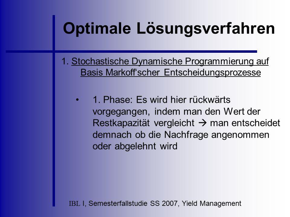 IBL I, Semesterfallstudie SS 2007, Yield Management Optimale Lösungsverfahren 1. Stochastische Dynamische Programmierung auf Basis Markoff'scher Entsc