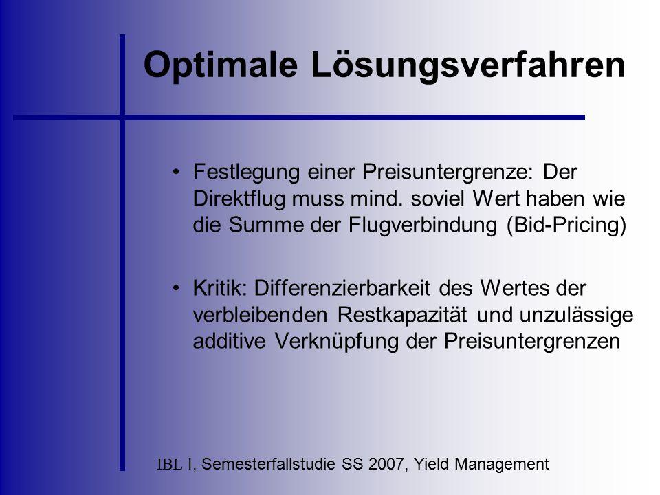 IBL I, Semesterfallstudie SS 2007, Yield Management Optimale Lösungsverfahren Festlegung einer Preisuntergrenze: Der Direktflug muss mind. soviel Wert