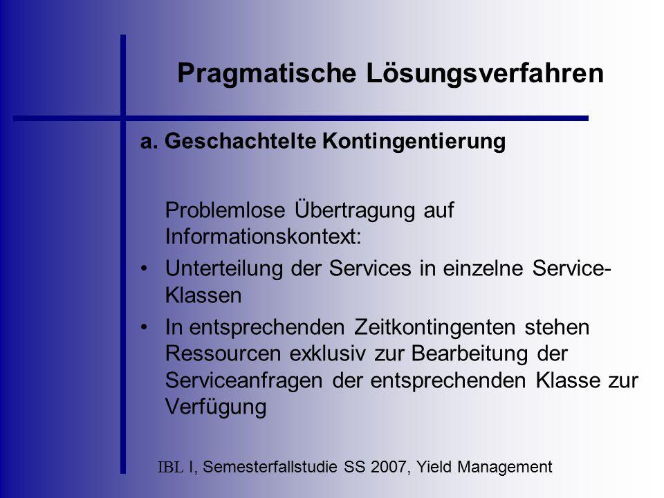 IBL I, Semesterfallstudie SS 2007, Yield Management Pragmatische Lösungsverfahren a. Geschachtelte Kontingentierung Problemlose Übertragung auf Inform