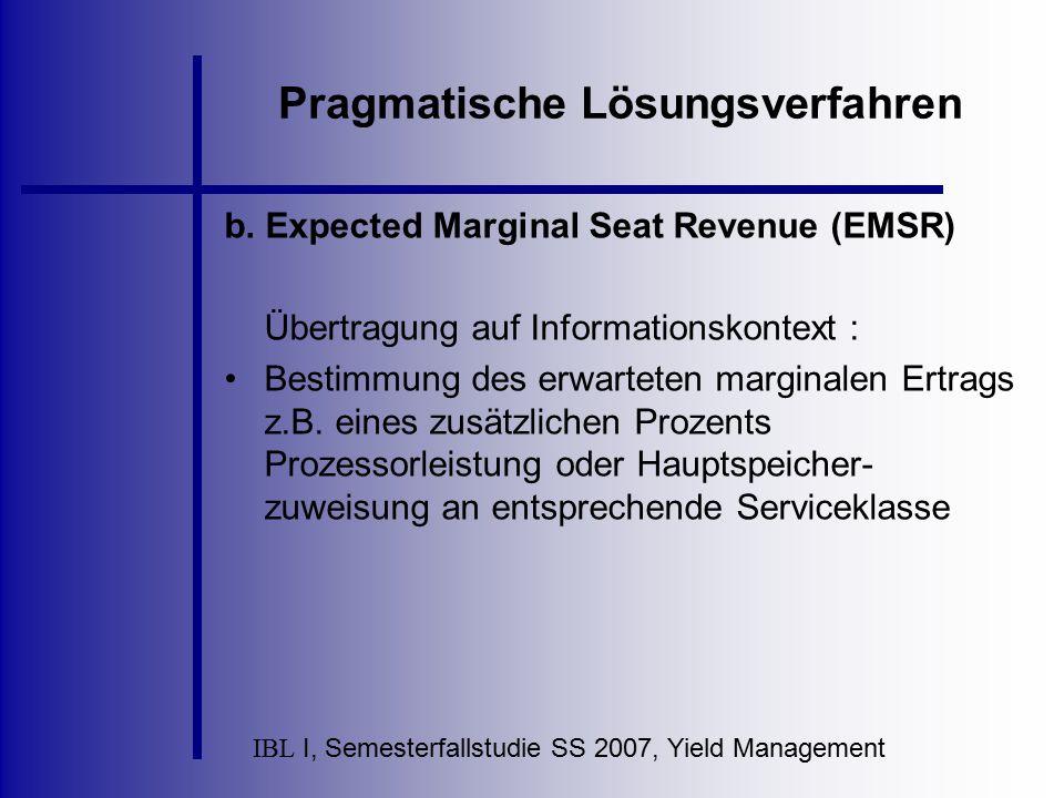 IBL I, Semesterfallstudie SS 2007, Yield Management Pragmatische Lösungsverfahren b. Expected Marginal Seat Revenue (EMSR) Übertragung auf Information