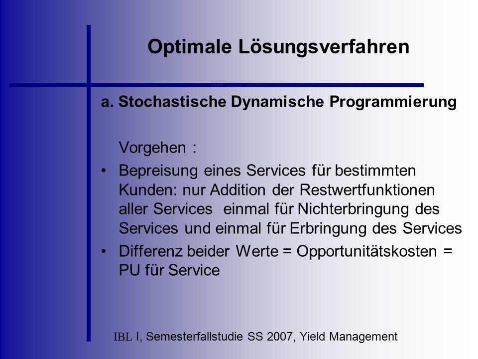 IBL I, Semesterfallstudie SS 2007, Yield Management Optimale Lösungsverfahren a. Stochastische Dynamische Programmierung Vorgehen : Bepreisung eines S