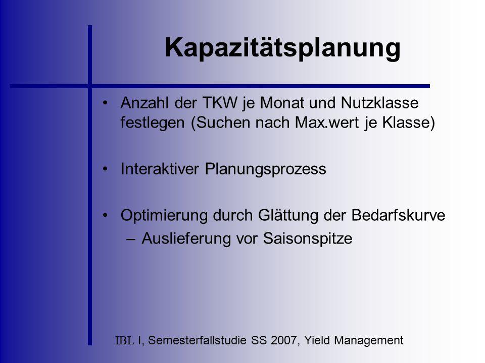 IBL I, Semesterfallstudie SS 2007, Yield Management Kapazitätsplanung Anzahl der TKW je Monat und Nutzklasse festlegen (Suchen nach Max.wert je Klasse