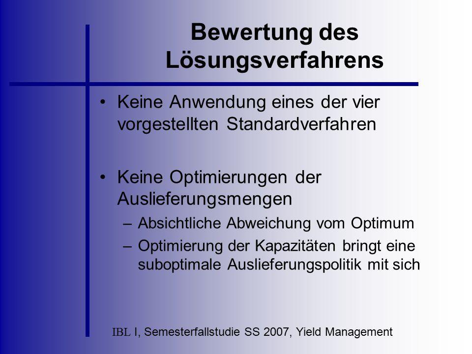 IBL I, Semesterfallstudie SS 2007, Yield Management Bewertung des Lösungsverfahrens Keine Anwendung eines der vier vorgestellten Standardverfahren Kei