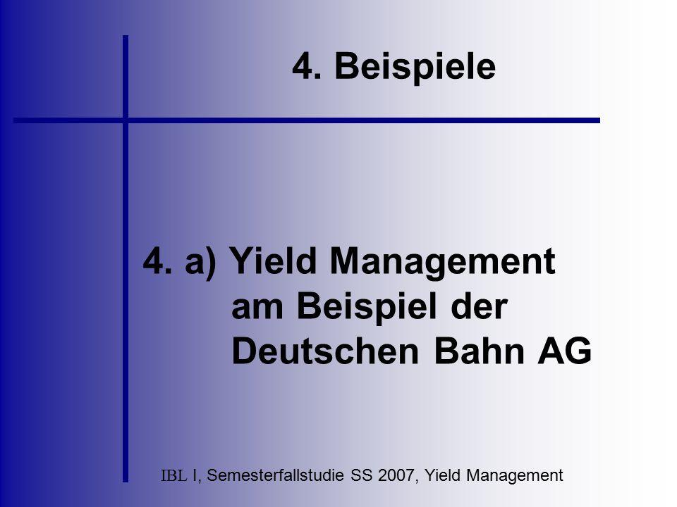 IBL I, Semesterfallstudie SS 2007, Yield Management 4. Beispiele 4. a) Yield Management am Beispiel der Deutschen Bahn AG