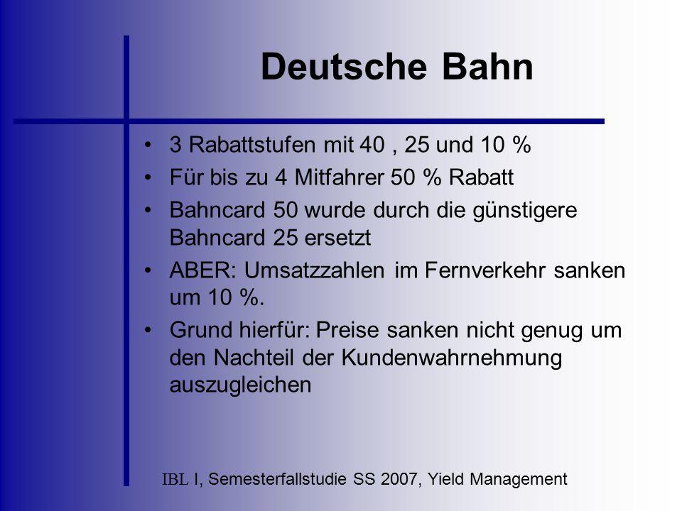 IBL I, Semesterfallstudie SS 2007, Yield Management Deutsche Bahn 3 Rabattstufen mit 40, 25 und 10 % Für bis zu 4 Mitfahrer 50 % Rabatt Bahncard 50 wu