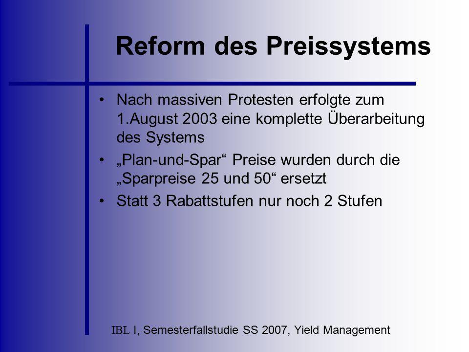 IBL I, Semesterfallstudie SS 2007, Yield Management Reform des Preissystems Nach massiven Protesten erfolgte zum 1.August 2003 eine komplette Überarbe