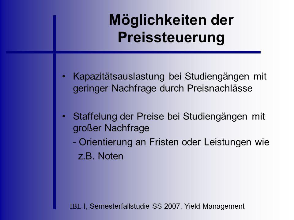 IBL I, Semesterfallstudie SS 2007, Yield Management Möglichkeiten der Preissteuerung Kapazitätsauslastung bei Studiengängen mit geringer Nachfrage dur