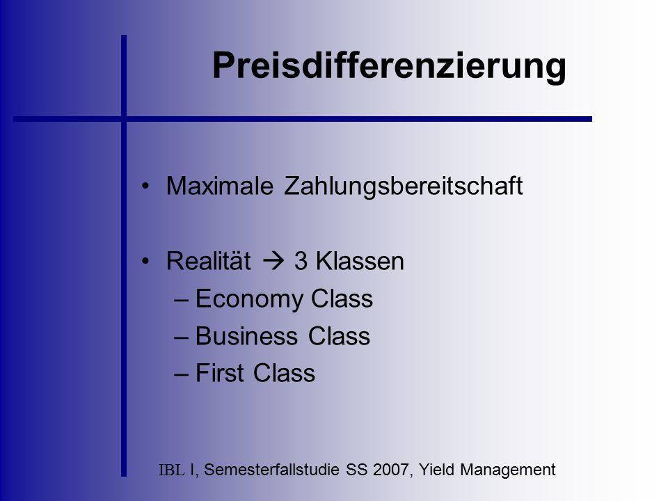IBL I, Semesterfallstudie SS 2007, Yield Management Preisdifferenzierung Maximale Zahlungsbereitschaft Realität  3 Klassen –Economy Class –Business C