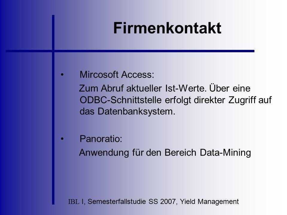 IBL I, Semesterfallstudie SS 2007, Yield Management Firmenkontakt Mircosoft Access: Zum Abruf aktueller Ist-Werte. Über eine ODBC-Schnittstelle erfolg