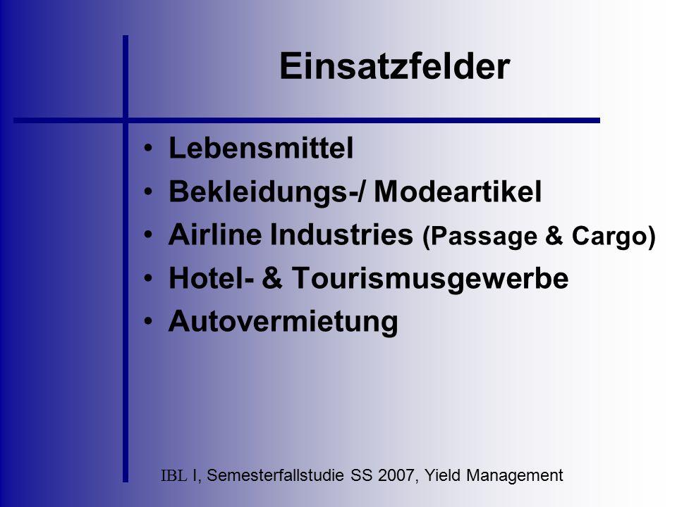 IBL I, Semesterfallstudie SS 2007, Yield Management Ziele dieses Preissystems Fahrten im Fernverkehr sollen für Kunden ohne Bahncard attraktiver gemacht werden Unüberschaubare Vielfalt von Angeboten wird auf ein leicht überschaubares Maß reduziert Durch Sonderangebote (z.b.