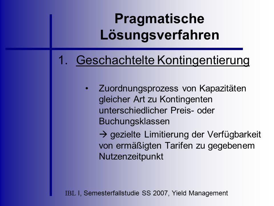 IBL I, Semesterfallstudie SS 2007, Yield Management Pragmatische Lösungsverfahren Ermittlung der Buchungsgrenzen der einzelnen Tarifklassen durch Nachfrageprognosemodelle Kritik: Führt nur zu suboptimalen Ergebnissen, da es auf die Vollständigkeit der potentiellen Nachfrage ankommt.