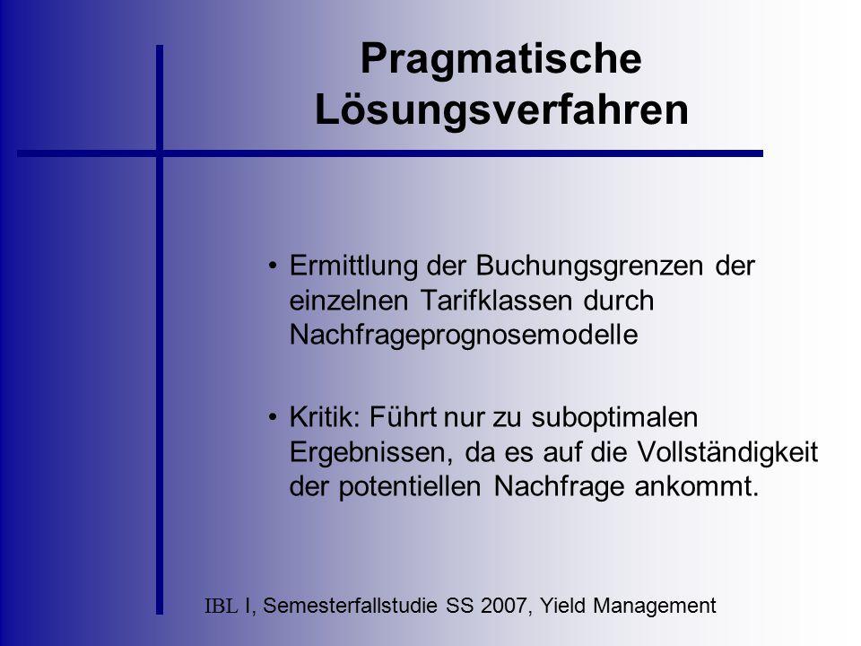 IBL I, Semesterfallstudie SS 2007, Yield Management Pragmatische Lösungsverfahren Ermittlung der Buchungsgrenzen der einzelnen Tarifklassen durch Nach