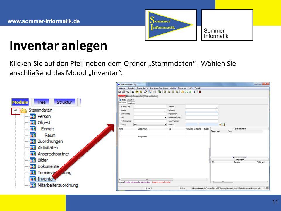 """www.sommer-informatik.de 11 Inventar anlegen Klicken Sie auf den Pfeil neben dem Ordner """"Stammdaten ."""