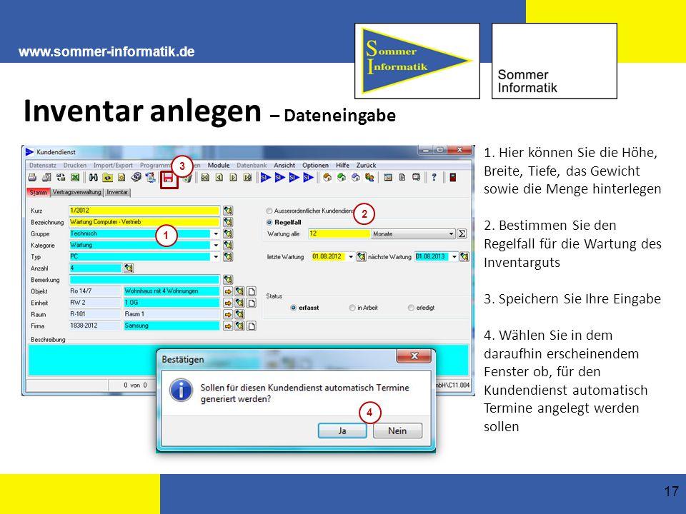 www.sommer-informatik.de 17 Inventar anlegen – Dateneingabe 1.
