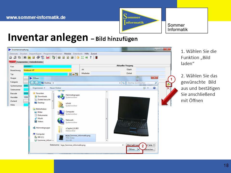 www.sommer-informatik.de 18 Inventar anlegen – Bild hinzufügen 1.