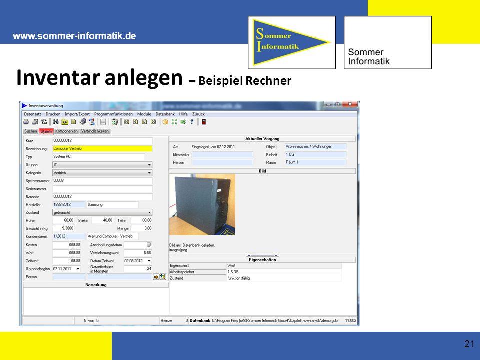 www.sommer-informatik.de 21 Inventar anlegen – Beispiel Rechner